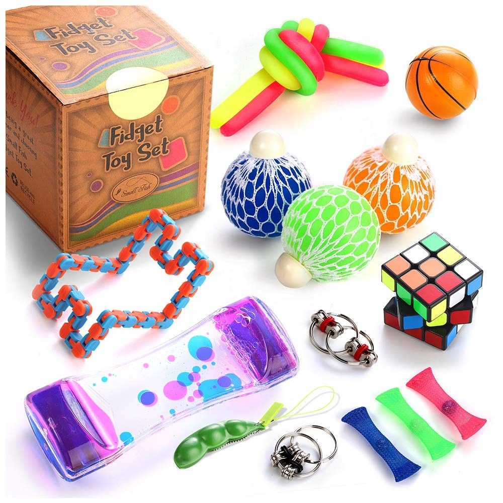 various fidget toys and puzzles on display, such as stress balls and a Rubix cube
