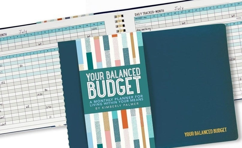 cover of budget book and inside of book showing a daily and monthly tracker