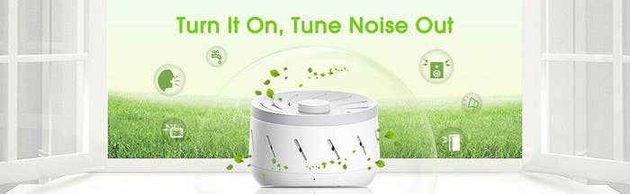 """Mechanical white noise means NO LOOPING! You can just twist to adjust the volume and frequency — and it has three time options so you can have it running all night, or auto shut off after 30 or 60 minutes.Get it from Amazon for $39.99.Promising review: """"This is easily one of the smartest purchases I have made in the last year. I needed a white noise to replace a quiet fan and this was an exact fit! It came with controls for speed and volume. That is all I needed. No buttons and switches to reset, instead the unit pivots. Find the sound and volume that you like and leave it on or tap the top for on and off. I love this contraption!"""" —Cathy"""