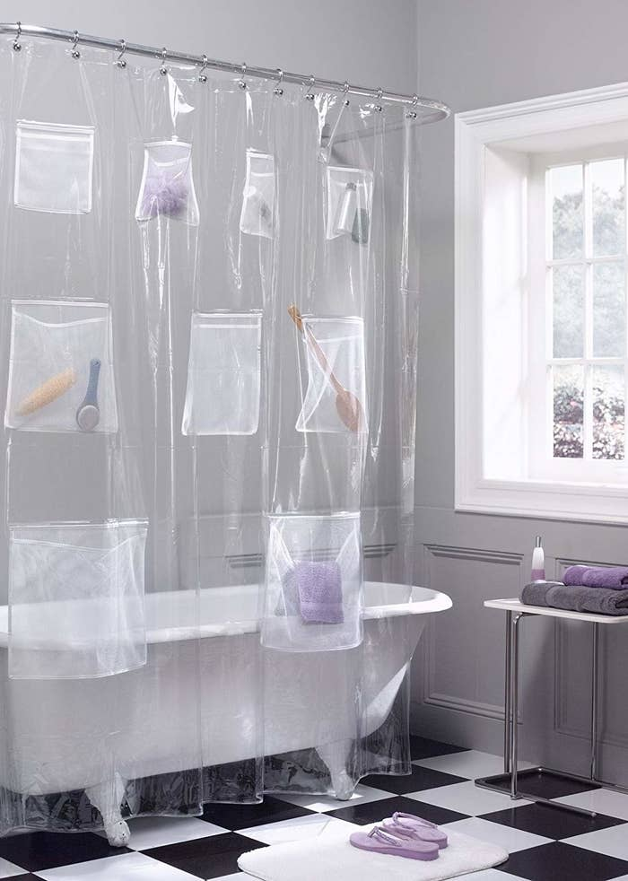 "It measures 70"" x 72"". Check out our review of this mesh pocket shower curtain (#2 on the list)!Promising review: ""This liner may be the most useful product I've ever purchased! It allows you to organize all your various bath products in conveniently sized mesh pockets. The pockets are strong enough to hold full shampoo and conditioner bottles without tearing away from the liner. No more worries about cluttered edges causing things to fall off the sides of the bathtub. No more nasty soap scum from bars of soap resting on the edge of the tub. No more rust circles from cans of shaving cream. It's brilliant!"" —G. AllenGet it from Amazon for $11.84. Or, check out a mesh organizer you can add on to your existing shower curtain."