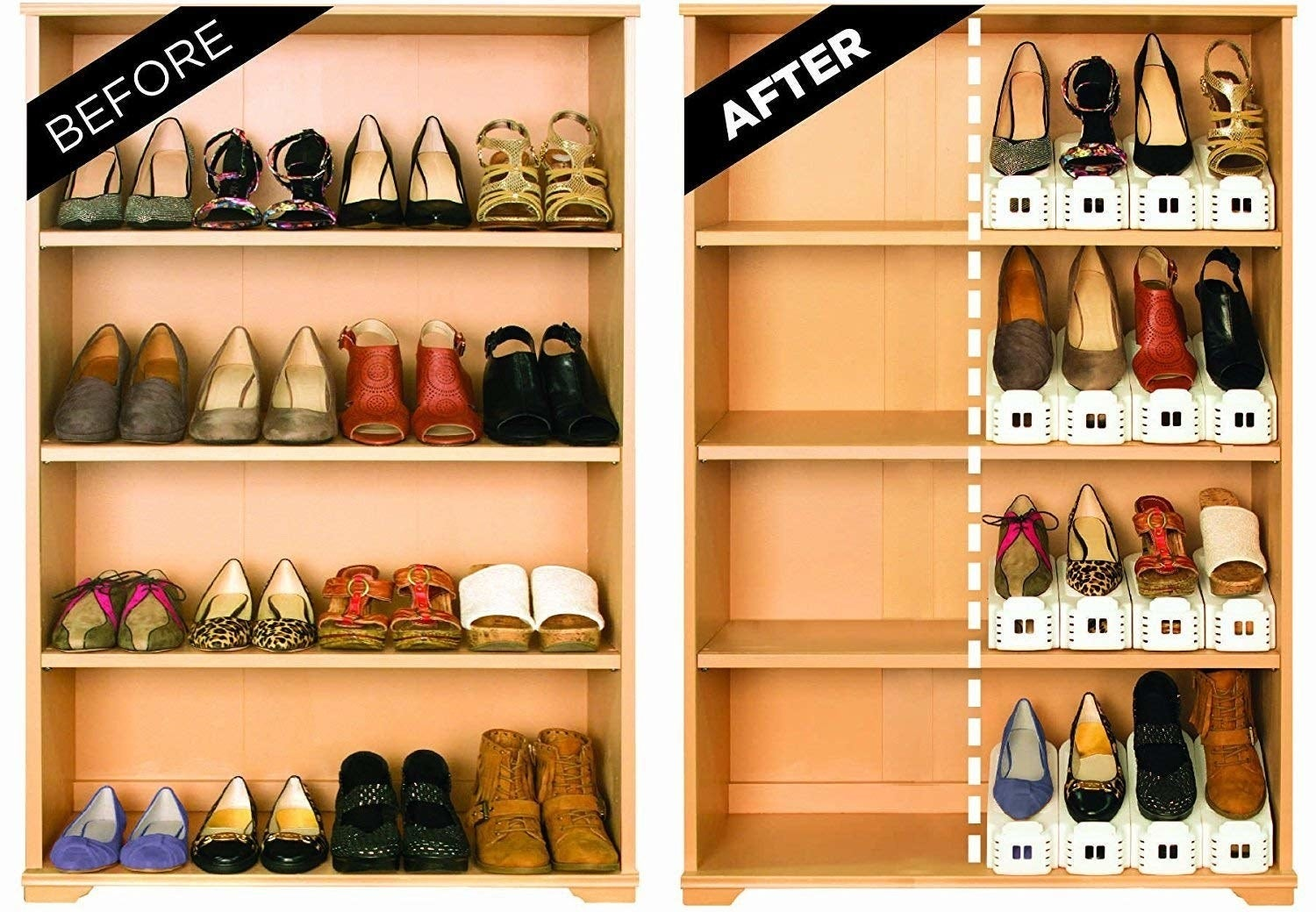 Before-and-after image of the shoes stored regularly versus on the holders, which cuts the space used in half