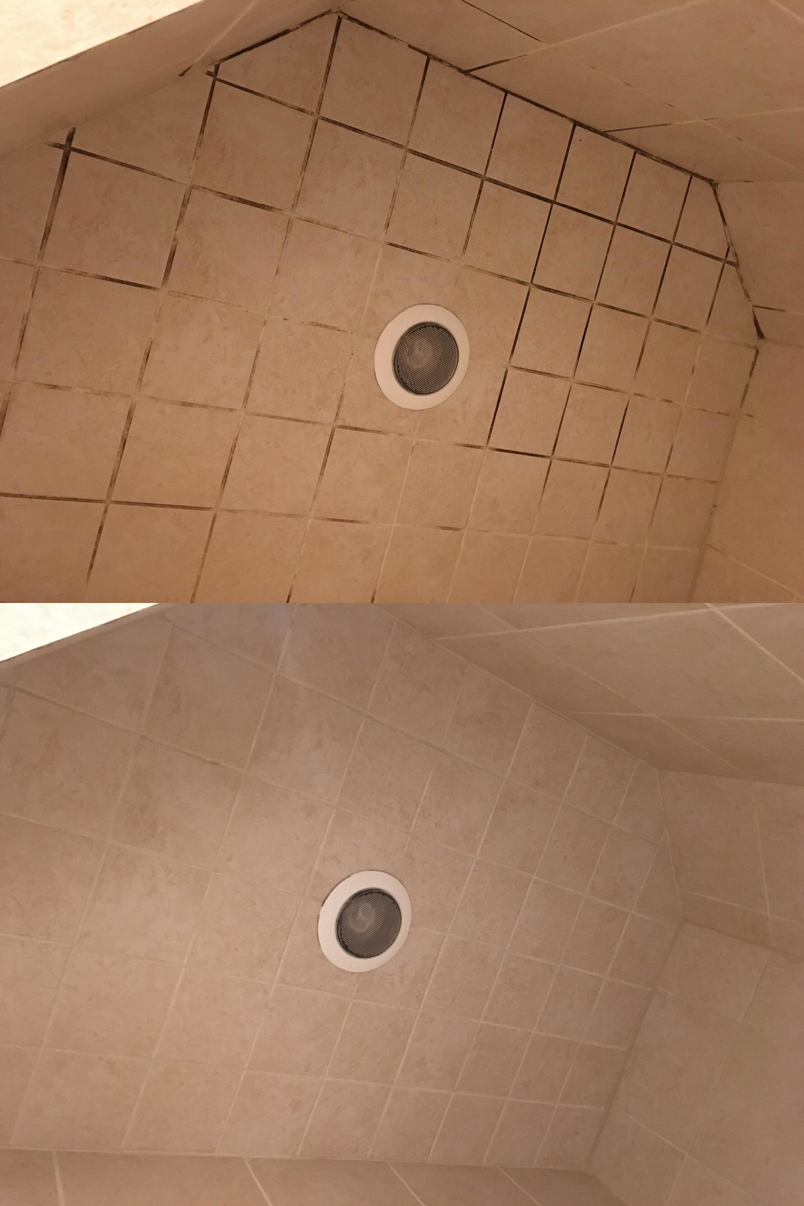 a reviewer's before and after photo of moldy tile coming clean after use with the spray