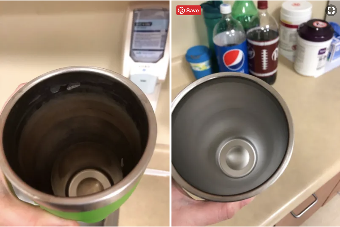 A stainless steel tumbler with coffee stains on the left, and the same cup totally clean on the right