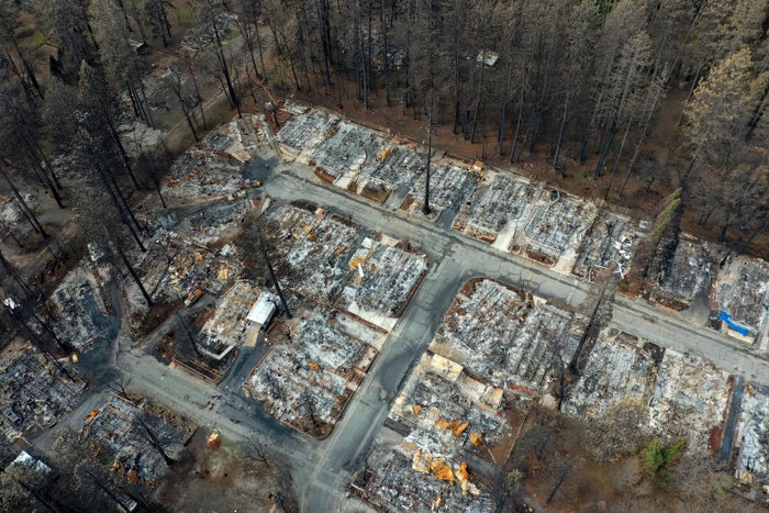 An aerial view of homes destroyed by the Camp fire in Paradise, California, Feb. 11, 2019.