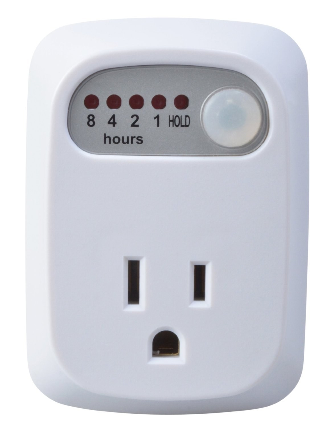 The outlet timer with plug and 8, 4, 2, 1-hour, and hold settings