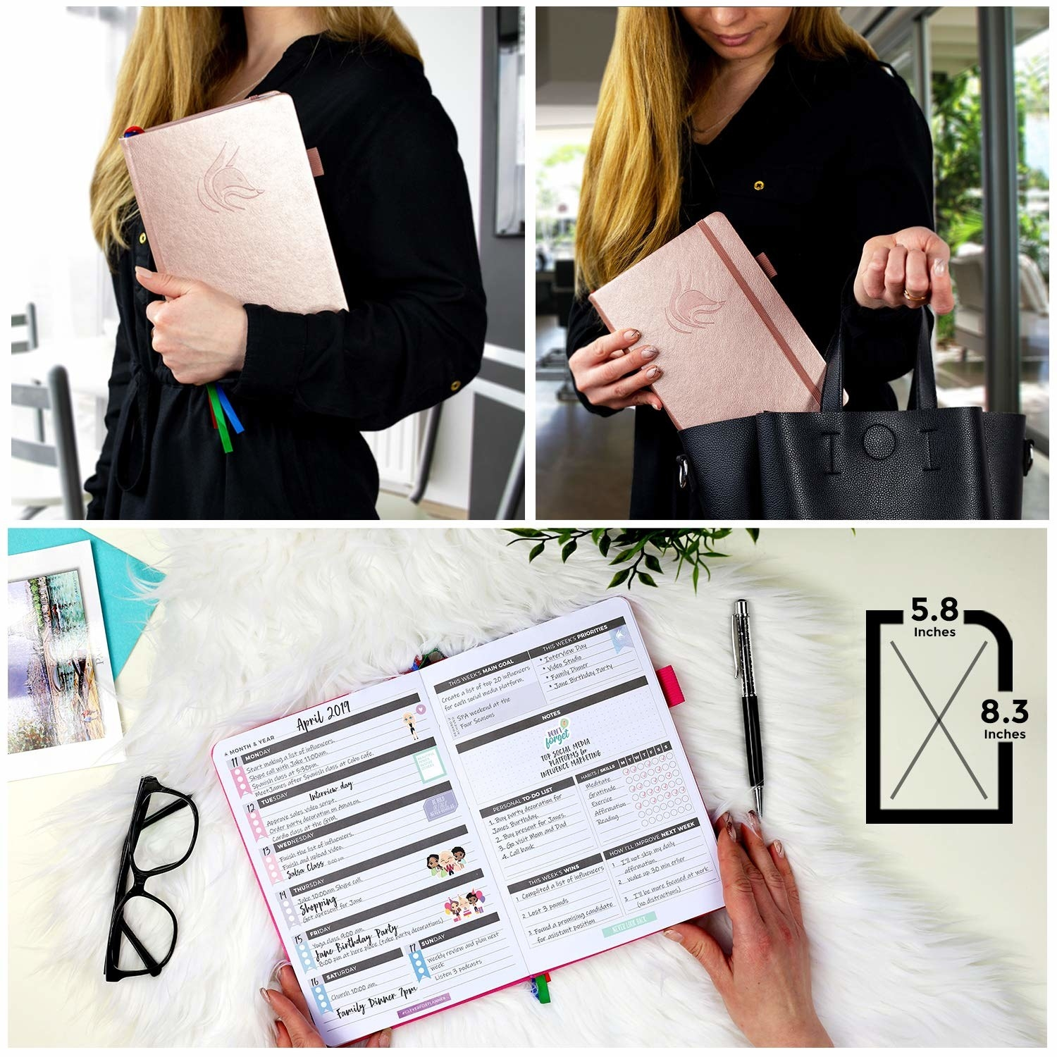 A model carrying the rose gold planner, and holding it open to show the layout inside