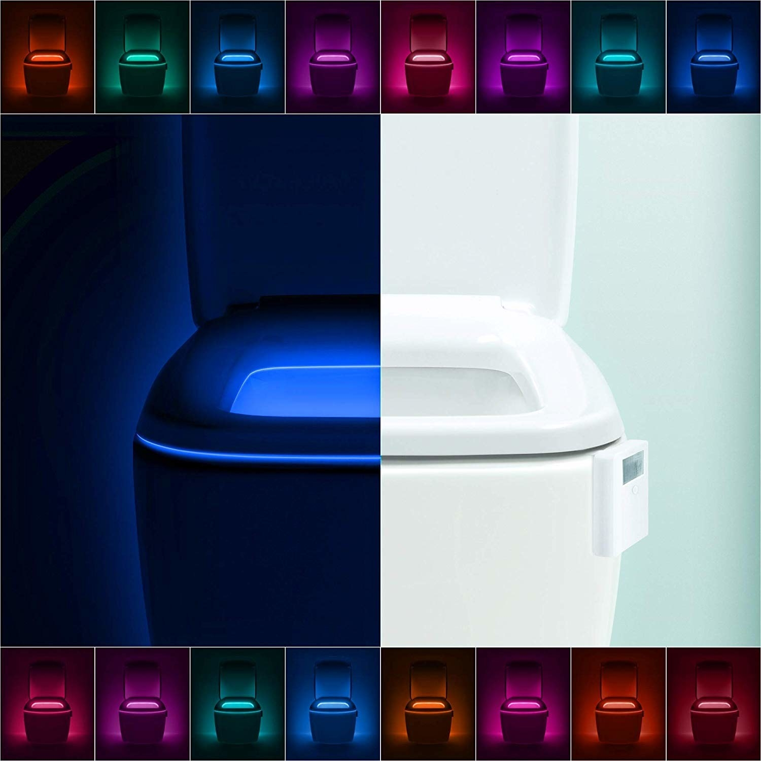A collage of a toilet glowing all the different colors