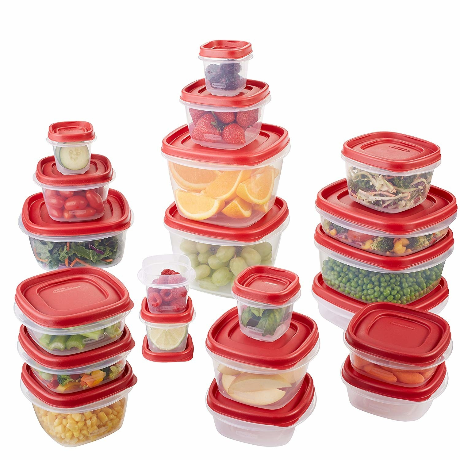 The set of clear and red containers in multiple sizes with food in them