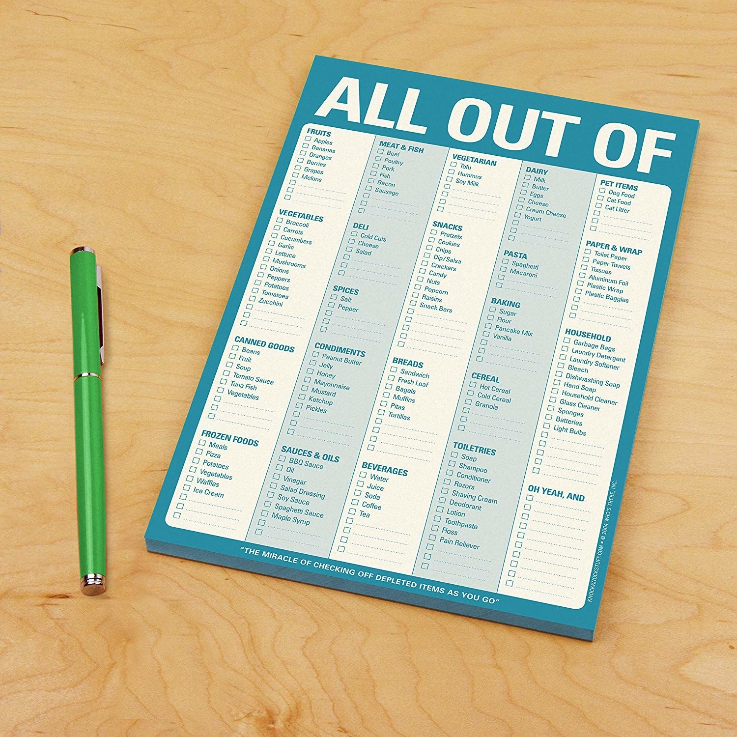 The blue notepad, with sections for categories of food, suggested items, and blank lines so you can fill in your own