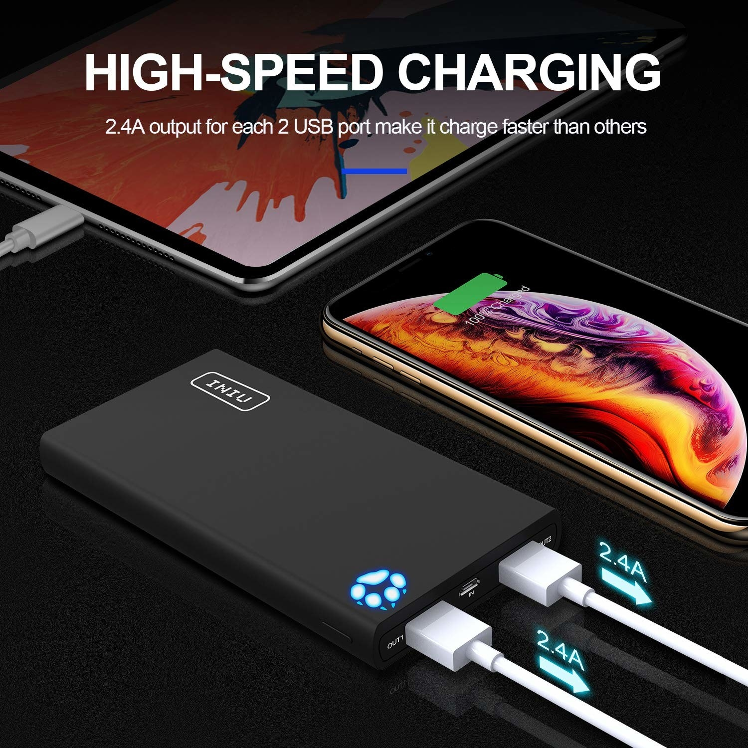 "The charger with text ""high speed charging"""