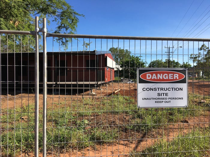 A new house is constructed at Mara town camp on the outskirts of Borroloola.