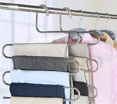 The hangers, which are each shaped like three letter S-es stacked on top of each other and with each top, middle, and bottom stretched out into a very flat line