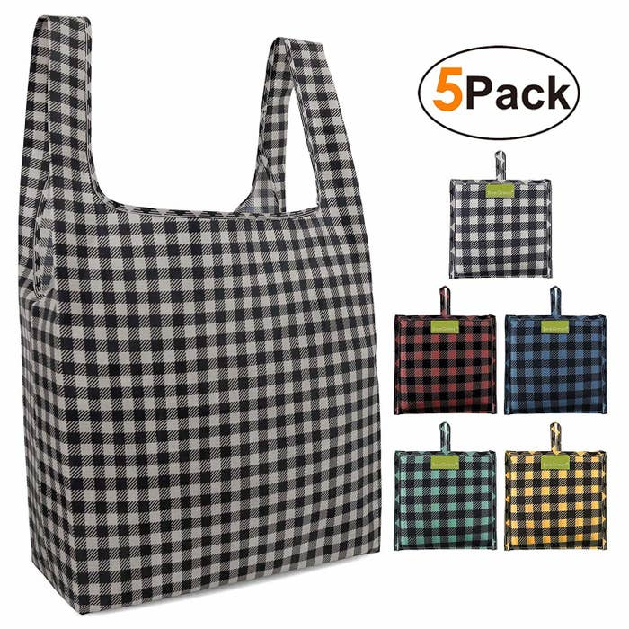 "Promising review: ""These are by far the BEST reusable shopping bags I have ever purchased!!! I love the fact that they are light and fold into a nice square pouch, making them easy to throw into my handbag. Even though they are light, they are STRONG. I used them for my weekly grocery shopping, and they hold a whole lot of groceries. I had one filled with mostly canned goods, and there was no indication of stress at all on these bags. I also used them at Target and the girl checking me out commented on how nice they were. They go right on my shoulder making them easy to carry as well. Be confident, buy these bags, and save our environment!!"" —BlondgypsychickPrice: $14.55 (available in 13 colors and patterns)"