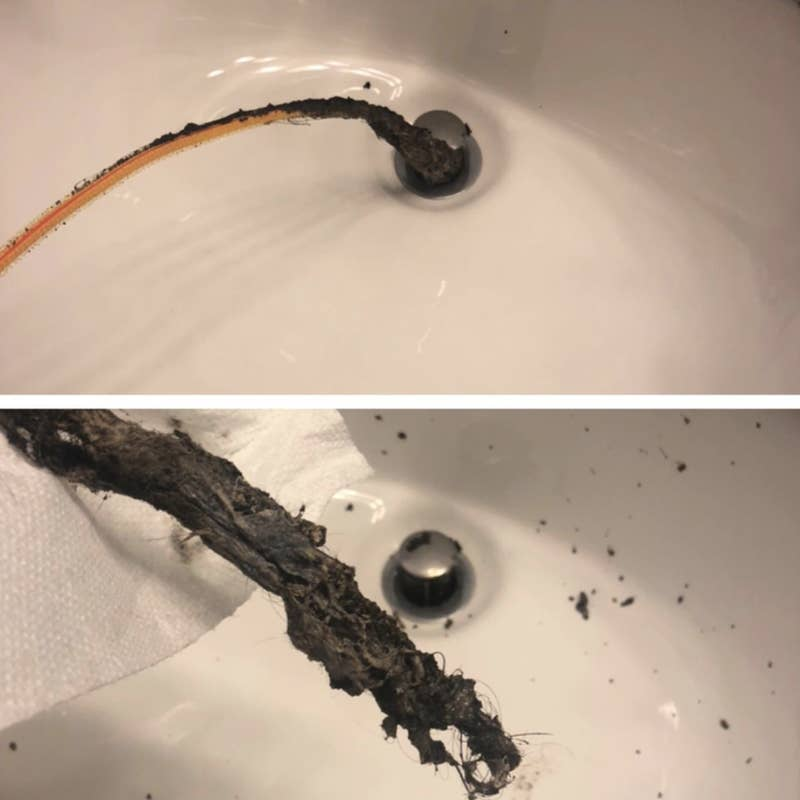 """Just try not to hurl in the process. You don't even have to take apart the drain to use it; it'll slide right down.Promising review: """"Nothing was fixing our bathroom drain issues in the sink AND the tub. The tub was getting so bad that it was dangerous to stand in the shower, because the gross scum buildup made the tub so slippery. Then I ordered this. I was convinced we were going to have to hire a plumber to rip out the whole bathroom to find the problem. I could not believe it — it didn't get stuck in the process and a bunch of disgusting gross stuff came out of the sink drain! I should have been wearing a rain suit with a scuba mask and I definitely should have moved our toothbrushes away from the splatter I wasn't expecting. I repeated this process in the bathtub drain, using the same FlexiSnake. I could not believe what and how much came out. I sent photos to my roommates so they would think I was a genius who spent hours fixing this problem and they'd be grateful and buy me dinner. But, honestly, it took about five minutes (shh)."""" —ExPatInAsiaGet it from Amazon for $5.28+ (available in two styles).Check out more gross before and after pictures in our spotlight on the FlexiSnake drain snake."""