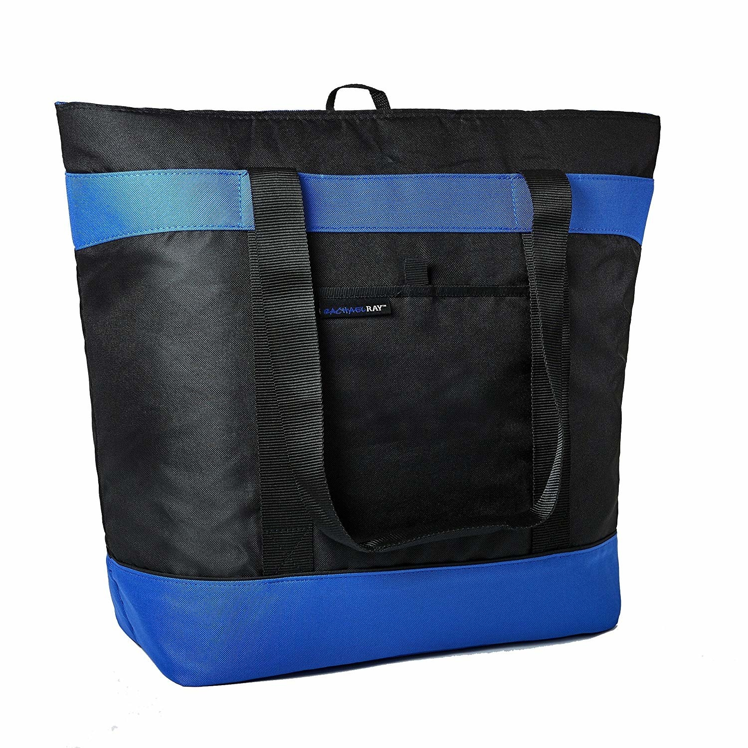 the black nylon bag with blue stripes on the top and bottom