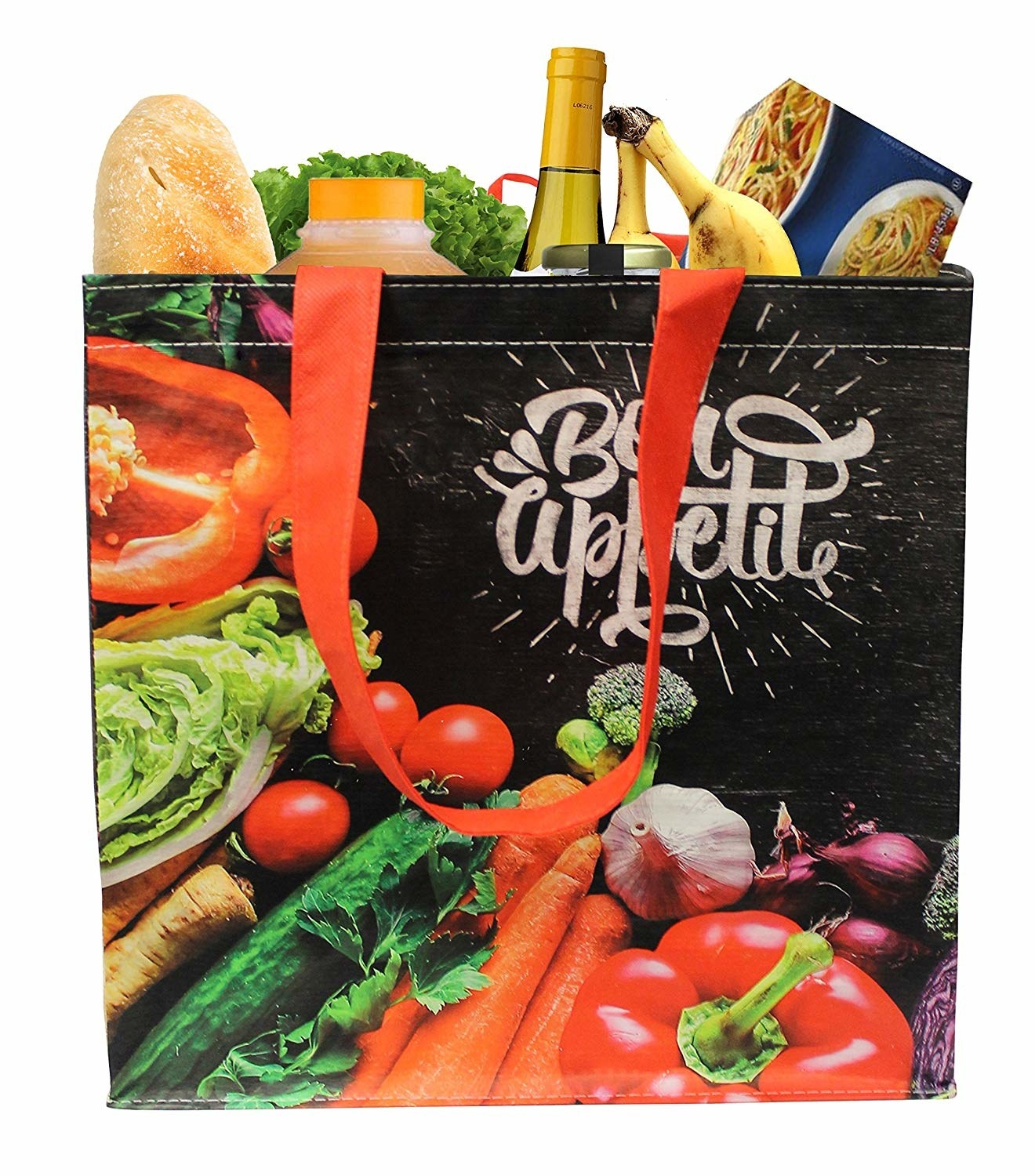 """rectangle bag with red straps and pictures of food on it that says """"Bon Appetite"""""""
