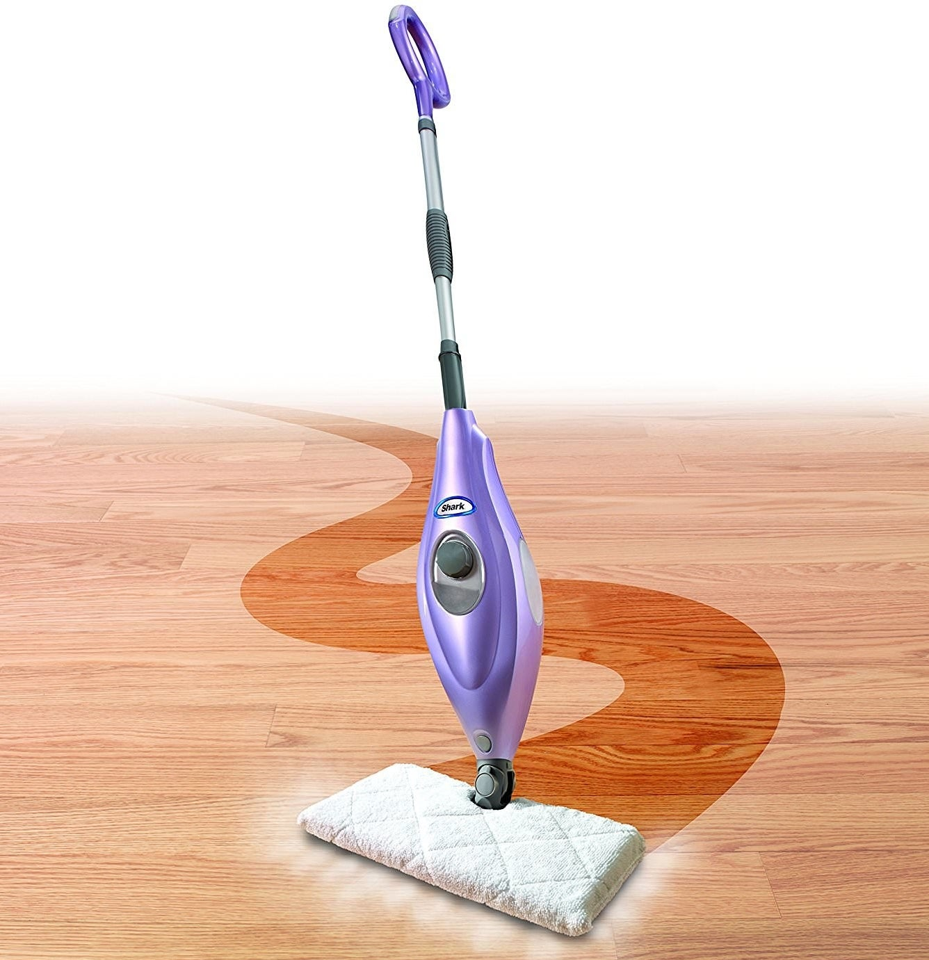 the heated steam mop with a cloth pad on it