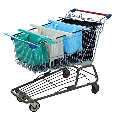 teal, white, light blue, and black bags with long arms inside a shopping cart being held up by the long arms
