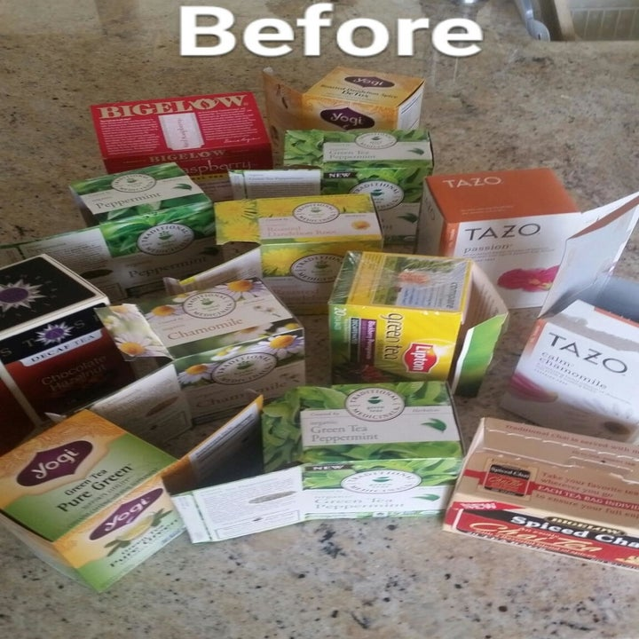 Before: 13 partially-empty tea boxes