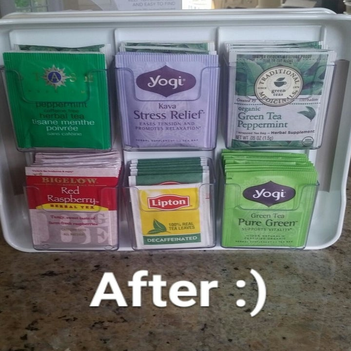 After: all the tea bags stacked in one side of the organizer, which has six mini bins on each side that hold the bags