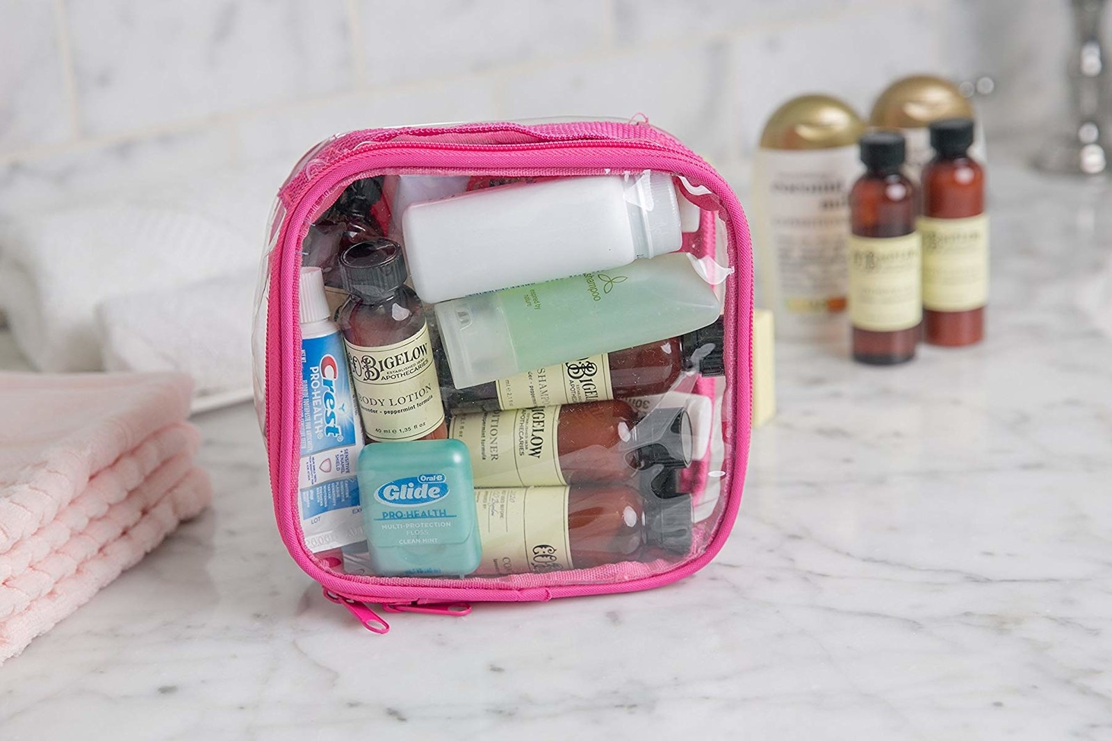 clear bag with toiletries inside