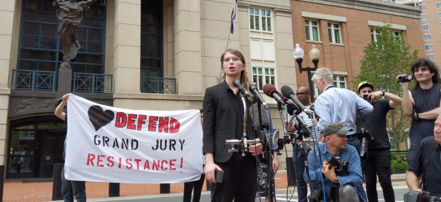 Chelsea Manning speaking outside the courthouse Thursday before she was jailed.