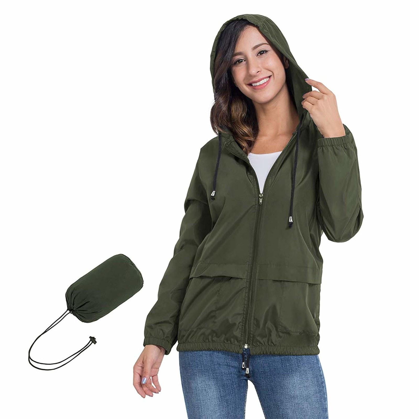 model wearing rain jacket