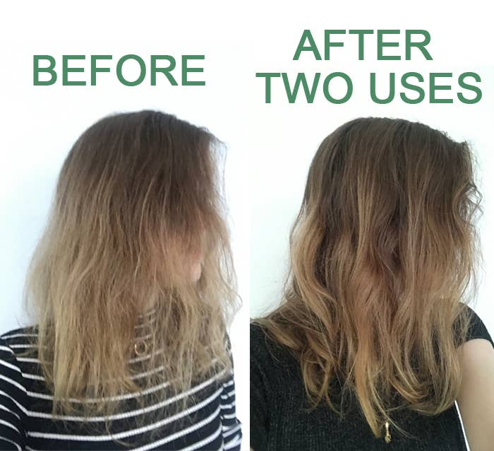a before and after of a BuzzFeed editor's hair looking softer after two uses of the treatment