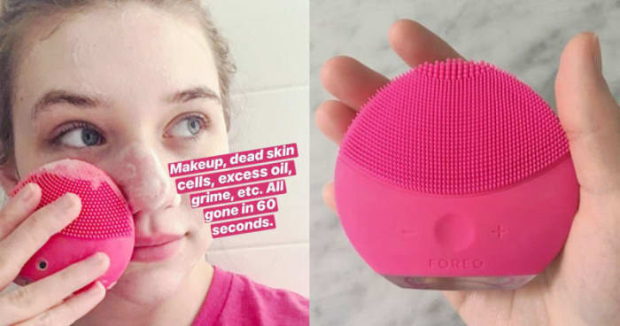 "(left) BuzzFeed editor Maitland Quitmeyer with the Foreo on her face with the words ""Makeup, dead skin cells, excess oil, grim, etc. All gone in 60 seconds"" (right) Closeup of the hot pink brush, showing what the silicone brush looks like"