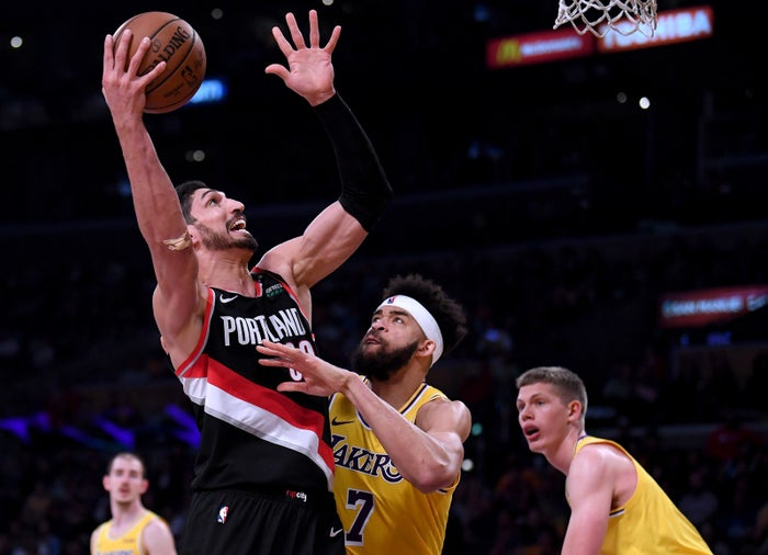Enes Kanter of the Portland Trail Blazers takes a shot against the Los Angeles Lakers.