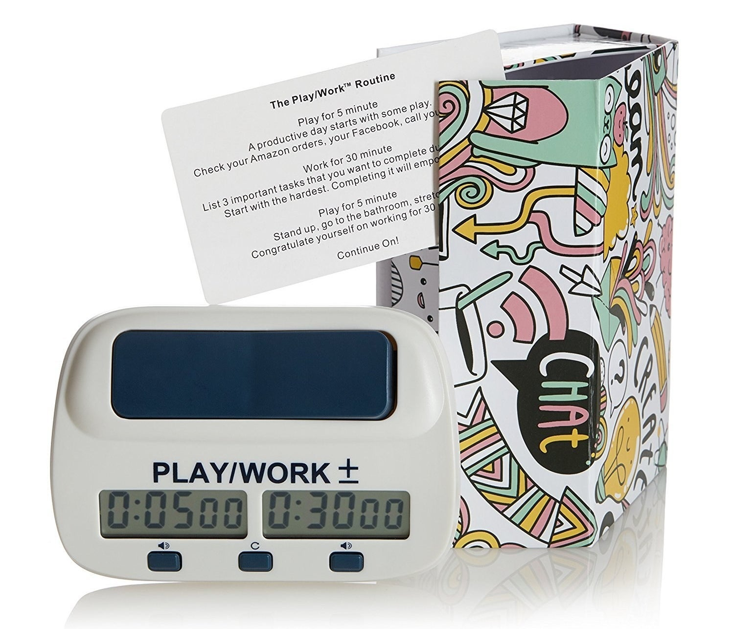 "The timer sitting next to its packaging showing five minutes on the ""play"" side and 30 minutes on the ""work"" side"