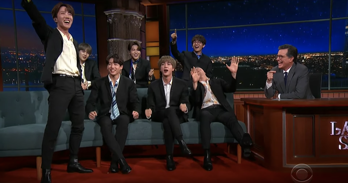 """Highlights included J-Hope leading the audience in a rendition of """"Hey Jude"""", Taehyung wearing glasses, and Jin telling Stephen he needs to dye his hair pink."""