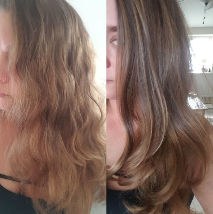 Reviewer pic of their hair before and after using the brush with the left just wavy and a bit frizzy and the right nice and smooth and blown out