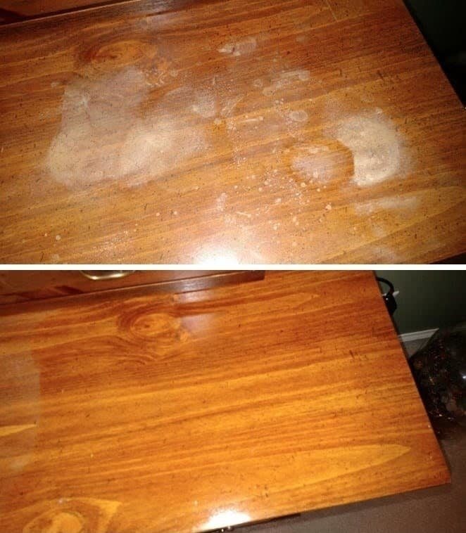 a reviewer's before and after photos which show a stained wooden dresser completely restored with polish