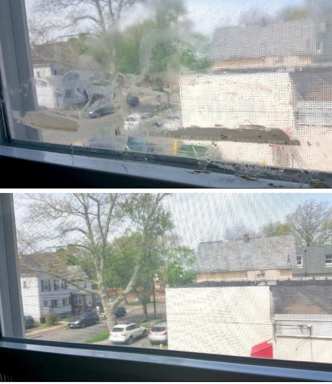 Two photos: a window with lots of duct tape residue, and the window now clear with no residue left