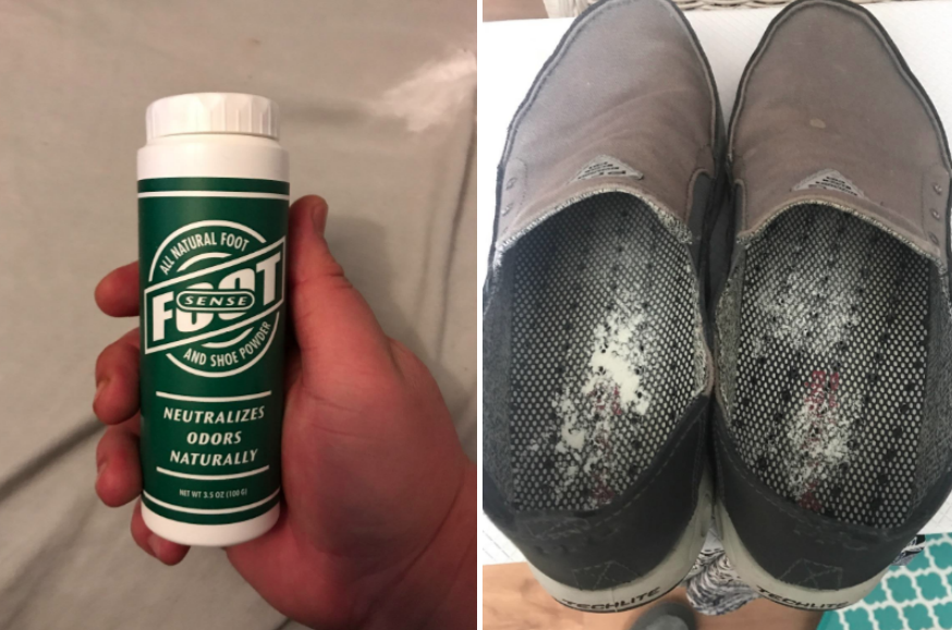 reviewer image of the Foot Sense powder applied in shoe