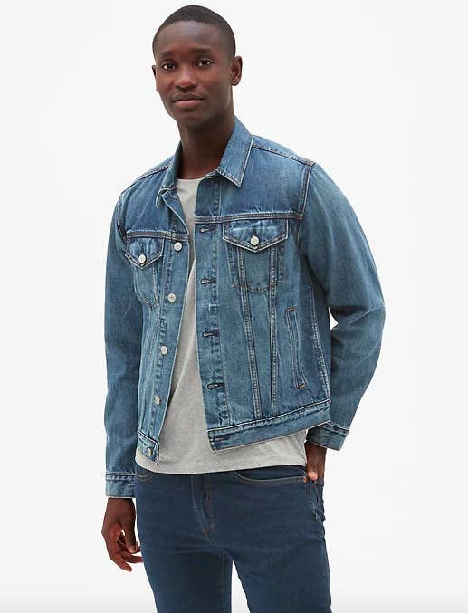 """Promising review: """"This jacket is the perfect spring and summer jacket. The denim quality is great, and it is so comfortable to wear. The weight is good, and doesn't feel cheap. The inside breast pockets are deep so nothing will fall out. And there are pockets inside!"""" —Meet Fred Price: $60 (available in sizes XS-3XL, and regular and tall)"""