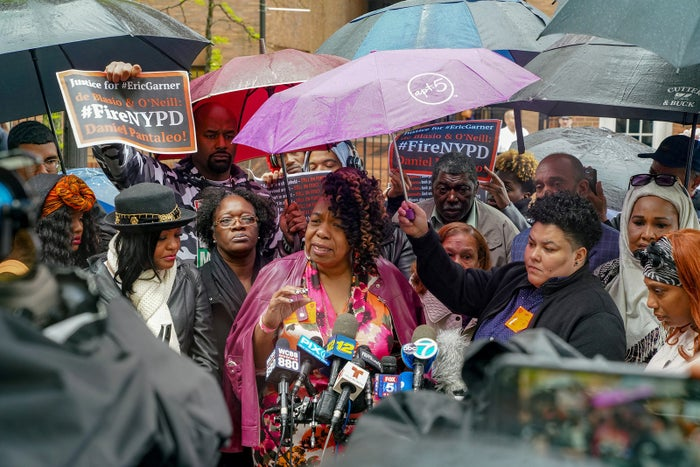 Gwen Carr, Eric Garner's mother, speaks to the media during a break at the NYPD disciplinary trial of police officer Daniel Pantaleo in relation to Garner's death, at 1 Police Plaza in Manhattan, May 13.