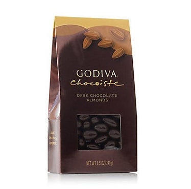 An 8.5 ounce bag of Godiva dark chocolate almonds