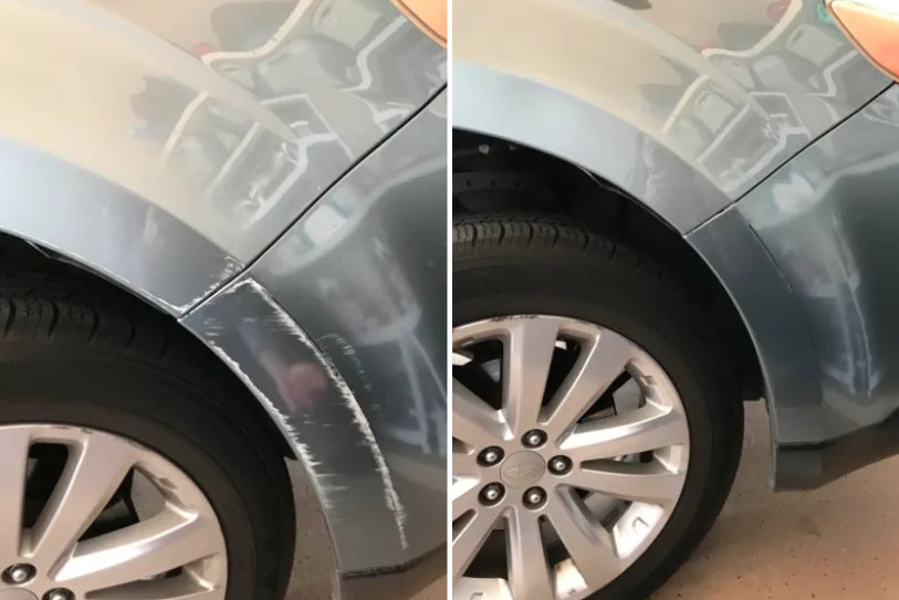 before image of side of car with scratches, and after image with scratches buffed out