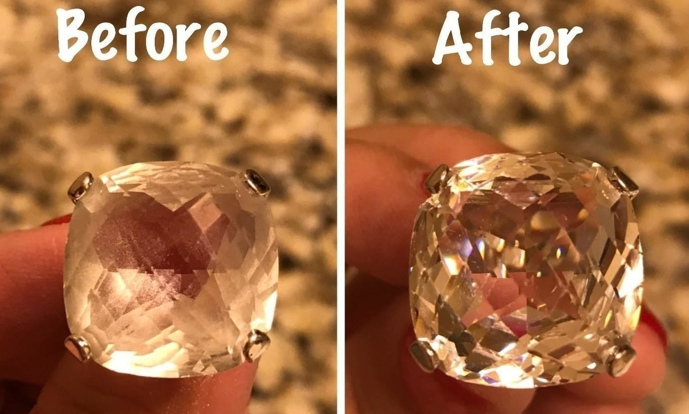 Two photos: a large crystal pendant, cloudy from regular wear. The same pendant, now clear, detailed, and sparkling