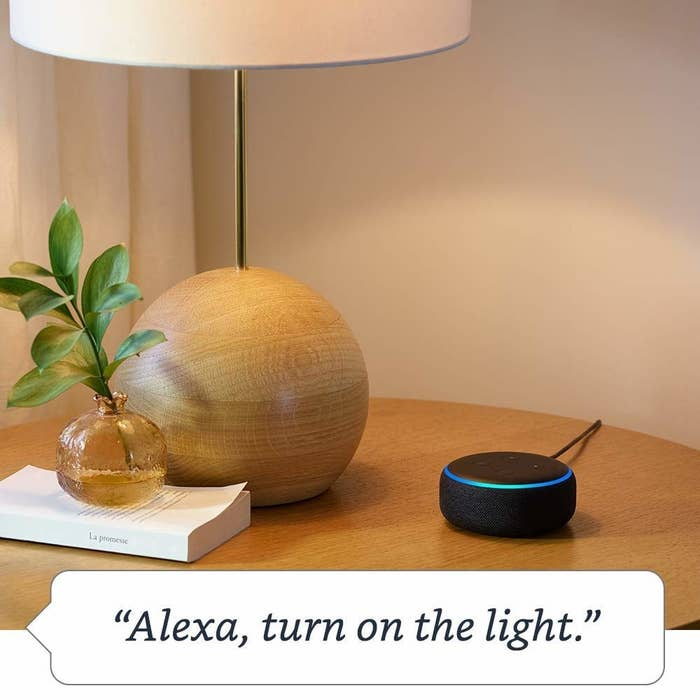 """Promising review: """"I have to say, I am quite impressed with my Echo Dot. Alexa can make or answer phone calls, play soothing sounds at night for me, and even wakes me up in the morning with a pleasant-sounding alarm. If I want her to play a song for me, then I just say 'Alexa, play Elvis Presley, """"Don't Be Cruel""""' and like magic it starts to play. I'm just a beginner at this, but I am finding out that I can do many many things with the Alexa app. Do yourself a favor and buy it. Best money I've ever spent."""" —Russ RoweGet it from Amazon for $49.99 (available in three colors)."""