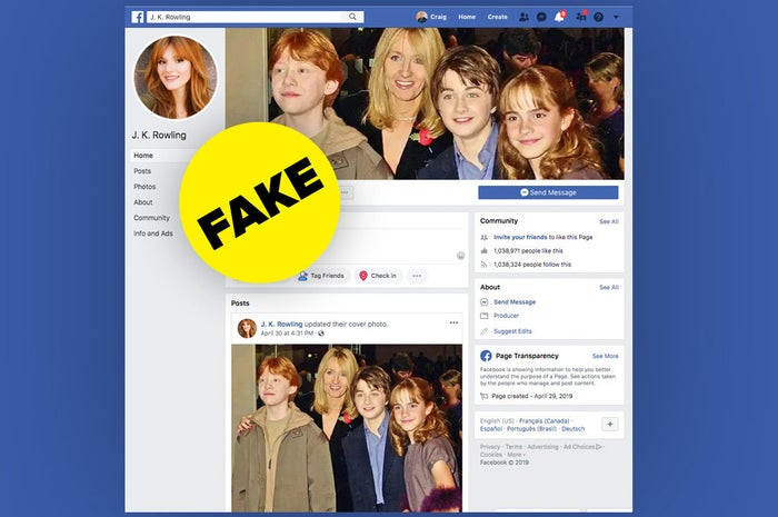 Stolen J.K. Rowling Facebook page with more than 1 million fans and a Bella Thorne profile photo.