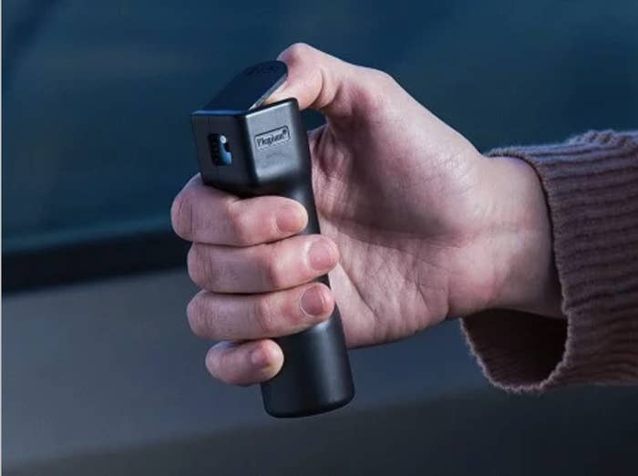 The alarm and light are activated once you start spraying, plus the battery lasts up to four years. FYI, due to state-specific laws, it can't ship to New York, Massachusetts, or Washington D.C. Get it from The Grommet for $29.95 (available in two colors).