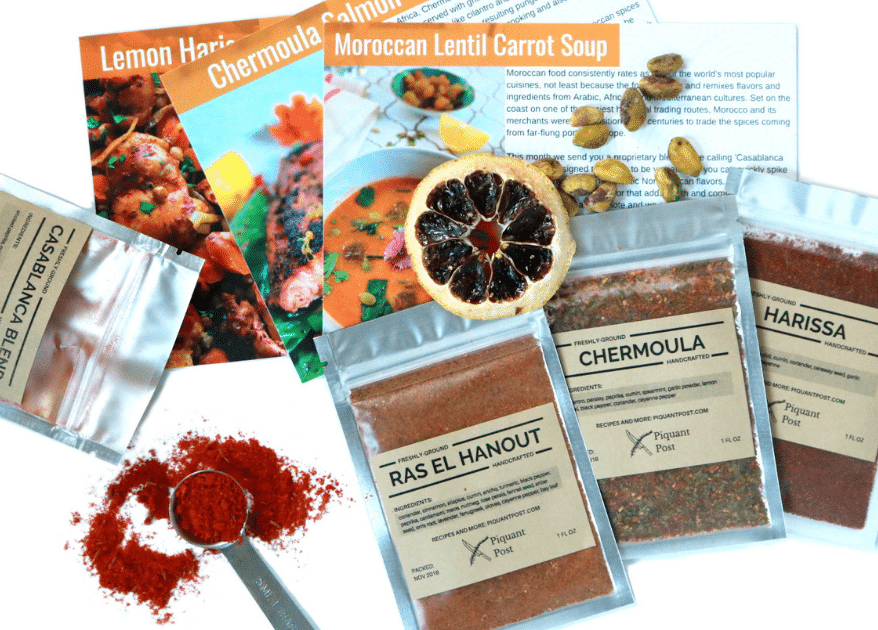 packets of spices and recipe cards
