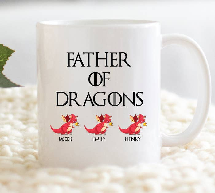 f5b01b054 A GOT-inspired ceramic mug that allows you to customize the names of your  dragons (just in case you haven't named your children Drogon, Rhaegal, ...