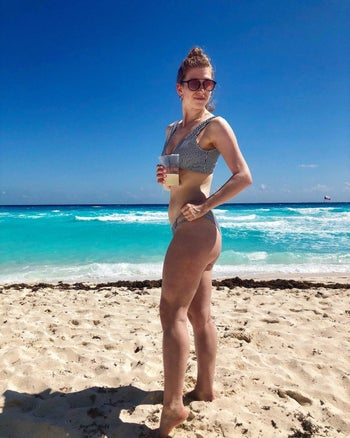 reviewer in the swimsuit
