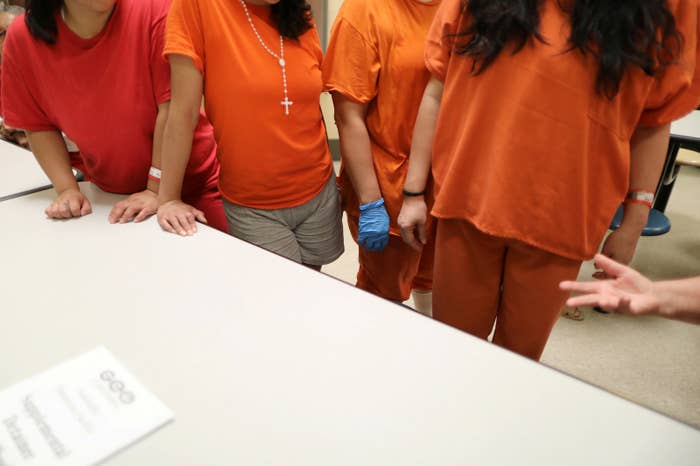 Women housed in a dormitory at the Adelanto immigration detention center.
