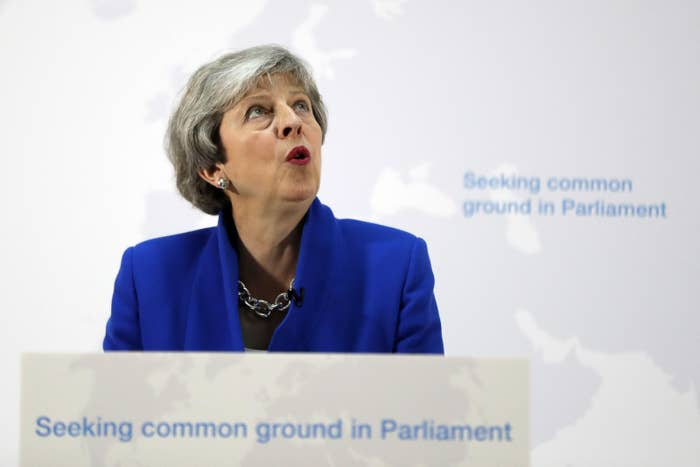 Britain's Prime Minister Theresa May delivers a keynote speech in central London on May 21, 2019.