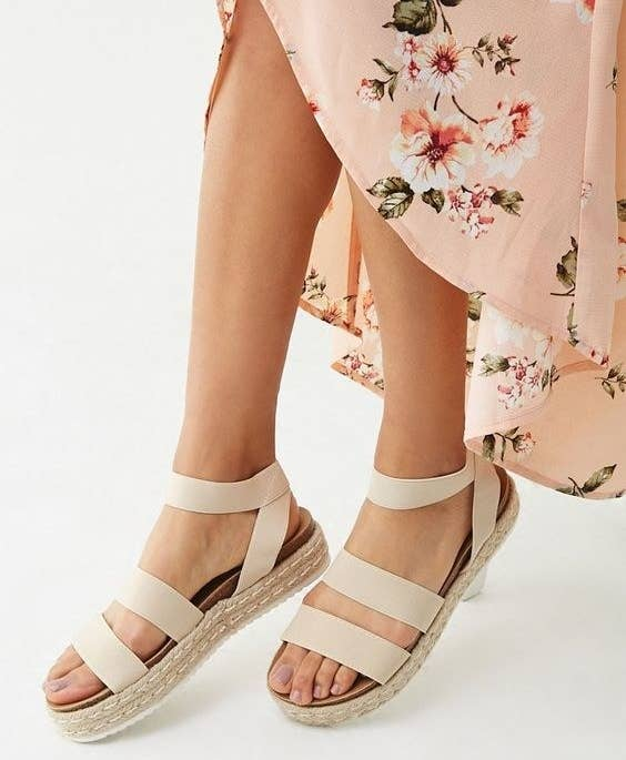 """Promising review: """"I love these espadrilles! They fit just right, are super flexible, and go with any outfit!"""" —Crystal C.Get them from Forever 21 for $28 (available in sizes 6–10 and two colors)."""